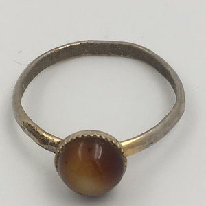 Vogue Silver/Gold Tone Brown Stone Ring Sz 7